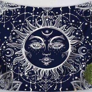 Dark Blue Sun Tapestry